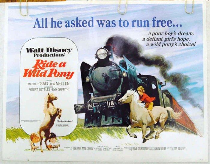 RIDE A WILD PONY ~ Fine-Cond Rolled '76 Half Sheet Movie Poster ~ WALT DISNEY