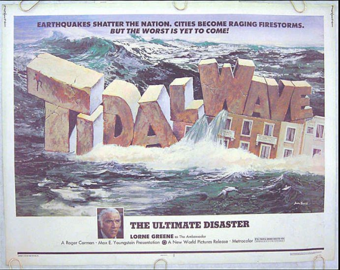 TIDAL WAVE ~ '75 Disaster Half Sheet Movie Poster ~ ROGER CORMAN / LORNE GREEN