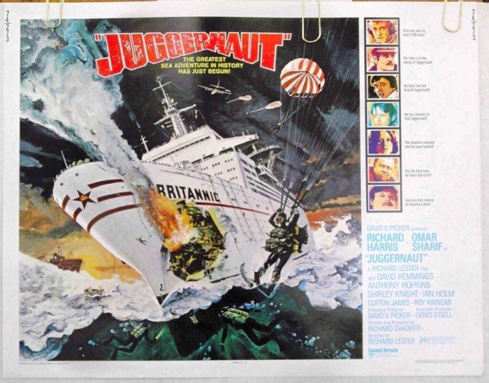 JUGGERNAUT ~ '74 Half Sheet Movie Poster ~ RICHARD HARRIS / OMAR SHARIF / ANTHONY HOPKINS