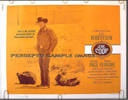 J W COOP ~ RARE-SIZE '72 Rodeo Half Sheet Movie Poster ~ CLIFF ROBERTSON / GERALDINE PAGE