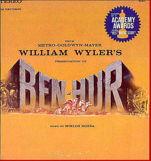 BEN HUR ~ Near-Mint 1959 CHARLTON HESTON Movie Score Vinyl LP ~ OSCAR WINNER / MIKLOS ROZSA
