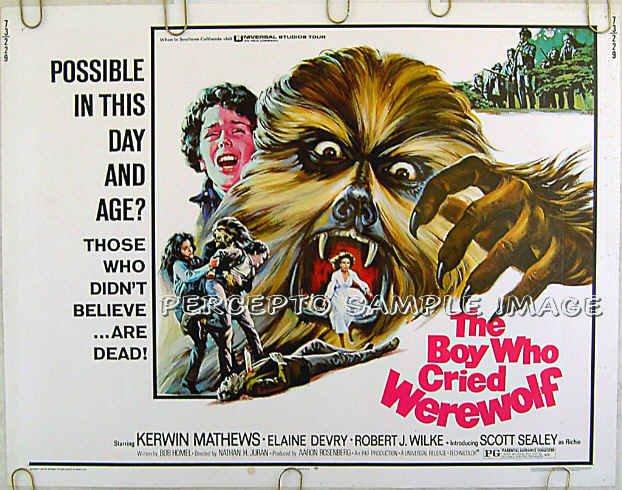 BOY WHO CRIED WEREWOLF ~ Ex-Cond '73 Half-Sheet HORROR Movie Poster ~ KERWIN MATTHEWS