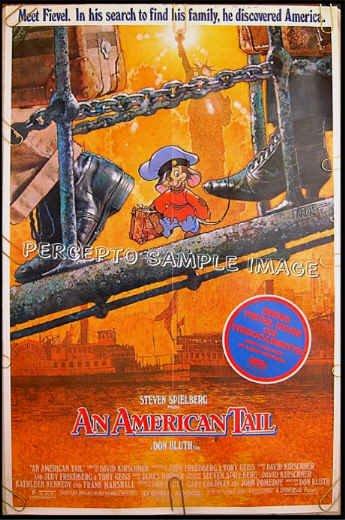 AN AMERICAN TAIL ~ Rare '87 1-Sheet CARTOON ART Movie Poster ~ STEVEN SPIELBERG