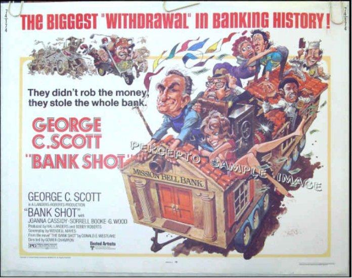 BANK SHOT ~ Rare JACK DAVIS Cartoon ART ~ Orig '74 Half-Sheet Movie Poster ~ GEORGE C SCOTT
