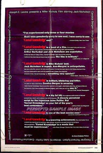 CARNAL KNOWLEDGE ~ '71 1-Sheet Movie Poster ~ JACK NICHOLSON / CANDICE BERGEN / ANN MARGRET