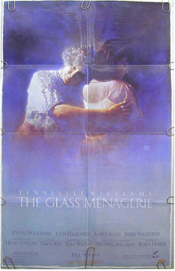 GLASS MENAGERIE ~ '88 1-Sheet Movie Poster ~ JOANNE WOODWARD / KAREN ALLEN / JOHN MALKOVICH