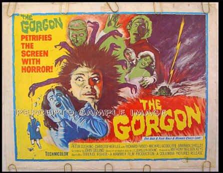The GORGON ~ Rare '64 HAMMER HORROR Half-Sheet Movie Poster ~ CHRISTOPHER LEE / PETER CUSHING