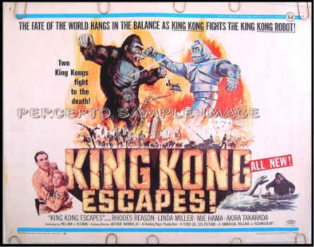 KING KONG ESCAPES ~ '68 TOHO SCI-FI Half-Sheet Movie Poster ~ ROBOT KONG / RHODES REASON