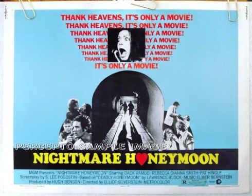 NIGHTMARE HONEYMOON ~ 1973 Original Half Sheet HORROR Movie Poster ~ DACK RAMBO / PAT HINGLE