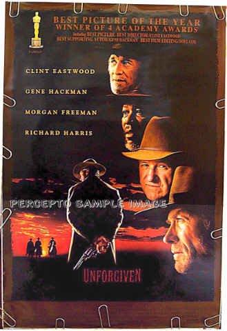 UNFORGIVEN ~ '92 1 Sheet Western Movie Poster ~ CLINT EASTWOOD / GENE HACKMAN / MORGAN FREEMAN