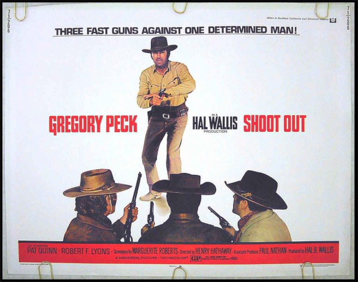 SHOOT OUT ~ '71 Western Half Sheet Movie Poster ~ GREGORY PECK / HENRY HATHAWAY