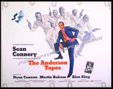 ANDERSON TAPES ~ '71 James Bond Style Half Sheet Movie Poster ~ SEAN CONNERY / DYAN CANNON