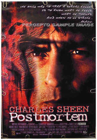 POSTMORTEM ~ '98 RARE TITLE 1-Sheet SERIAL KILLER Movie Poster ~ CHARLIE SHEEN