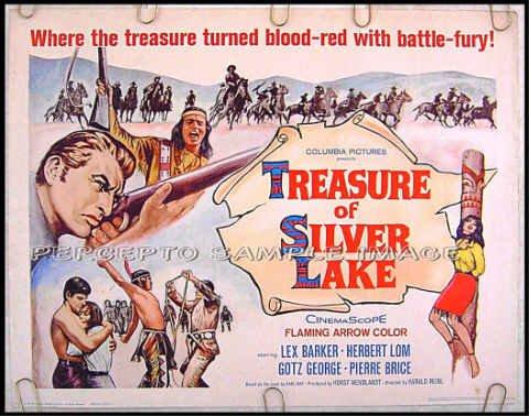 TREASURE OF SILVER LAKE ~ '65 Half Sheet WESTERN Movie Poster ~ LEX BARKER / HERBERT LOM