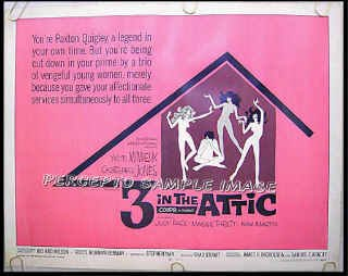 3 IN THE ATTIC ~ '68 AIP TEEN CLASSIC Half Sheet Movie Poster ~ CHRISTOPHER JONES / YVETTE MIMIEUX