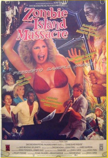 ZOMBIE ISLAND MASSACRE ~ '87 TROMA Camp 1-Sheet Movie Poster ~ RITA JENRETTE
