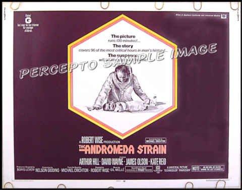 ANDROMEDA STRAIN ~ '71 MICHAEL CRICHTON Half-Sheet SCI-FI Movie Poster ~ ARTHUR HILL / DAVID WAYNE