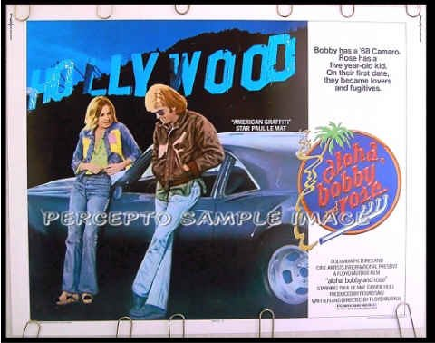 ALOHA BOBBY AND ROSE ~ '75 Half-Sheet Movie Poster ~ HOLLYWOOD SIGN / CAMARO / PAUL LE MAT