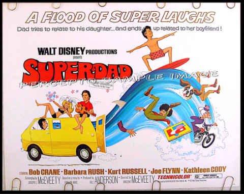 SUPERDAD ~ '74 Half-Sheet  WALT DISNEY Movie Poster ~ BOB CRANE / KURT RUSSELL / BARBARA RUSH
