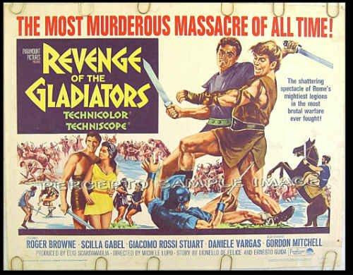 REVENGE OF THE GLADIATORS ~ '65 Sword & Sandal Half-Sheet Movie Poster ~ ROGER BROWNE