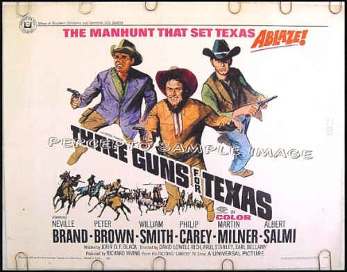 THREE GUNS FOR TEXAS ~ '68 Half-Sheet LAREDO TV COWBOY Movie Poster ~ WILLIAM SMITH / WESTERN