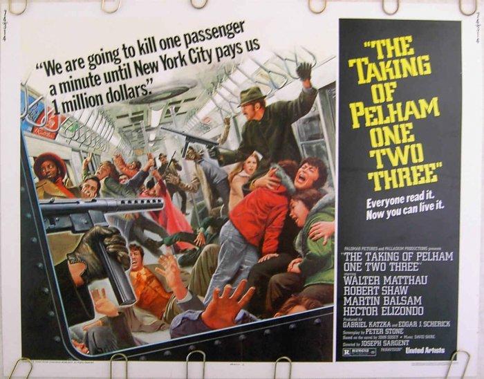 TAKING OF PELHAM ONE TWO THREE ~ '74 Half-Sheet Movie Poster - WALTER MATTHAU / NY SUBWAY HIJACK
