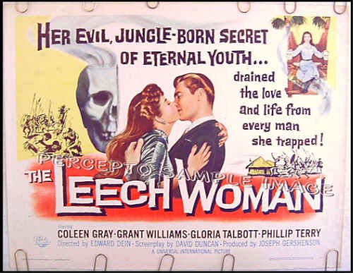 The LEECH WOMAN ~ '60 Horror Half-Sheet Movie Poster ~ GRANT WILLIAMS / COLEEN GRAY / GLORIA TALBOT
