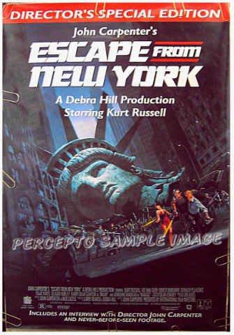ESCAPE FROM NEW YORK ~ '94 1-Sheet Movie Poster ~ KURT RUSSELL / ADRIENNE BARBEAU / JOHN CARPENTER