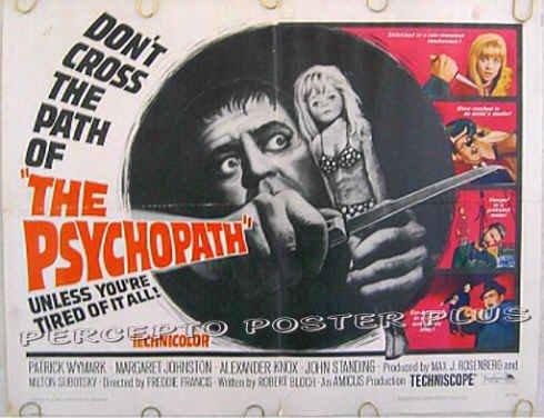 The PSYCHOPATH ~ '66 Half-Sheet Shocker Movie Poster ~ ROBERT BLOCH / PATRICK WYMARK