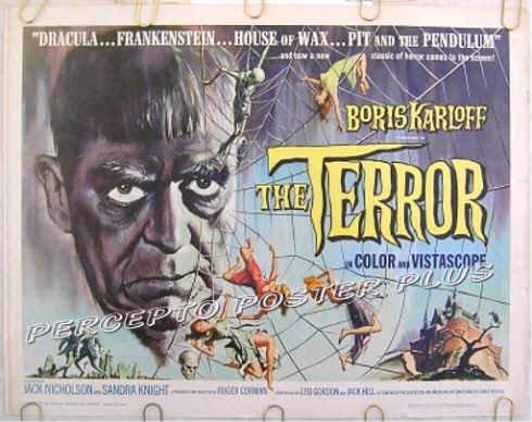 THE TERROR ~ Orig AIP '63 Half-Sheet Movie Poster ~ BORIS KARLOFF / JACK NICHOLSON / ROGER CORMAN