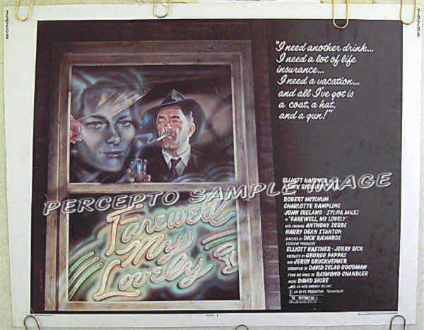 FAREWELL MY LOVELY ~ '75 NOIR Half-Sheet Movie Poster ~ ROBERT MITCHUM / CHARLOTTE RAMPLING