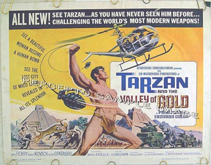 TARZAN AND THE VALLEY OF GOLD ~ '66 US Half-Sheet Movie Poster ~ MIKE HENRY