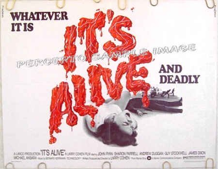 IT'S ALIVE ~ '74 Half-Sheet Horror Movie Poster ~ LARRY COHEN / ANDREW DUGGIN