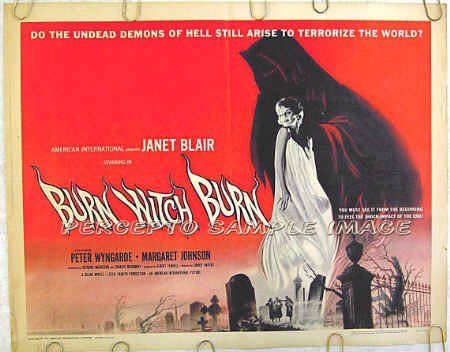 BURN WITCH BURN ~ '62 Half-Sheet Movie Poster ~ JANET BLAIR / PETER WYNGARDE / REYNOLD BROWN Art