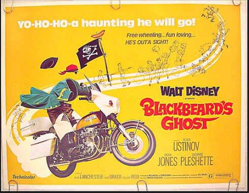 BLACKBEARD'S GHOST ~ WALT DISNEY 1976 Half-Sheet Movie Poster ~ DEAN JONES / SUZANNE PLESHETTE
