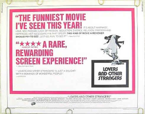 LOVERS & OTHER STRANGERS ~ '70 Half-Sheet Movie Poster ~ BEA ARTHUR / CLORIS LEACHMAN / GIG YOUNG