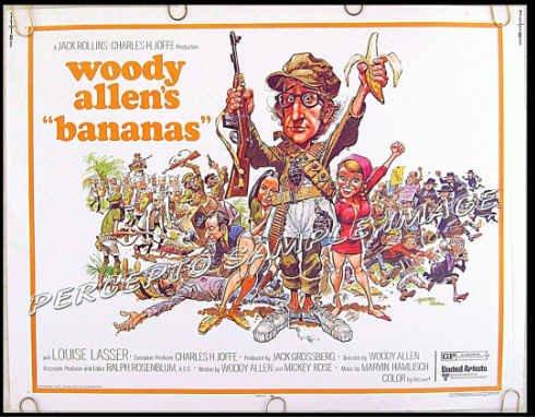 BANANAS ~ '71 Half-Sheet Movie Poster ~ WOODY ALLEN / JACK DAVIS Artwork / LOUISE LASSER