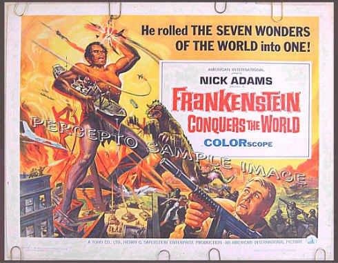 FRANKENSTEIN CONQUERS THE WORLD ~ '66  REYNOLD BROWN Movie Poster ~ NICK ADAMS / TOHO / ISHIRO HONDA