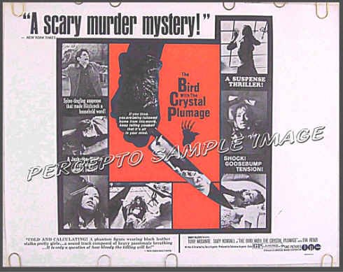 BIRD WITH THE CRYSTAL PLUMAGE ~ '69 Horror Half-Sheet Movie Poster ~ DARIO ARGENTO / TONY MUSANTE