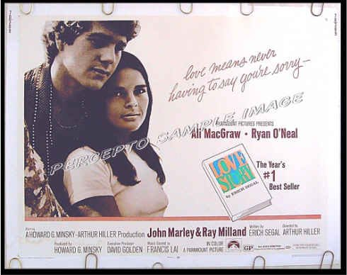 LOVE STORY ~ '70 Half-Sheet Movie Poster ~ RYAN O'NEAL / ALI MacGRAW / RAY MILLAND