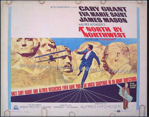 NORTH BY NORTHWEST ~ Orig R66 Half-Sheet Movie Poster ~ ALFRED HITCHCOCK / CARY GRANT / JAMES MASON