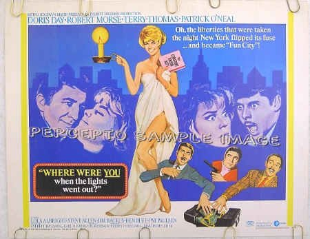 WHERE WERE YOU WHEN THE LIGHTS WENT OUT? ~ '68 Half-Sheet Movie Poster ~ DORIS DAY / ROBERT MORSE