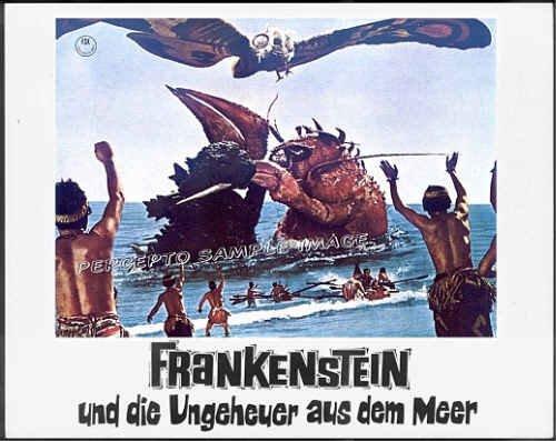 DESTROY ALL MONSTERS ~ '69 TOHO HORROR Movie Lobby Card 4 ~ GODZILLA & MOTHRA