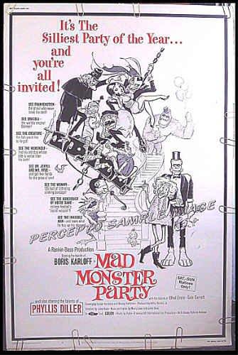 MAD MONSTER PARTY ~ 40x60 Movie Poster '68 ~ BORIS KARLOFF / PHYLLIS DILLER / FRANK FRAZETTA ART