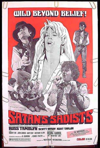 SATAN'S SADISTS ~ '69 BIKER 1-Sheet Movie Poster ~ RUSS TAMBLYN / REGINA CARROL / MOTORCYCLES