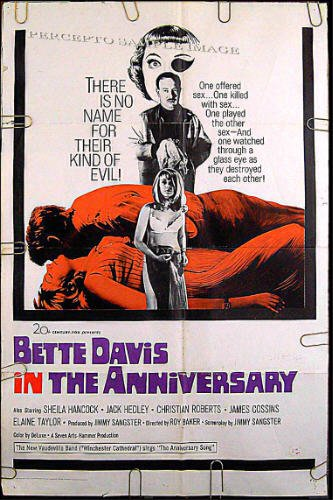 THE ANNIVERSARY ~ '67 Camp HAMMER Horror 1-Sheet Movie Poster ~ BETTE DAVIS / SHEILA HANCOCK