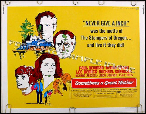 SOMETIMES A GREAT NOTION ~ '71 Half-Sheet Movie Poster ~ PAUL NEWMAN / LEE REMICK / MICHAEL SARRAZIN