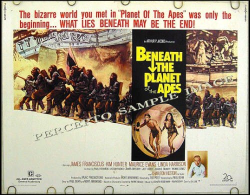 BENEATH The PLANET OF THE APES - Orig '70 Half-Sheet Movie Poster - CHARLTON HESTON