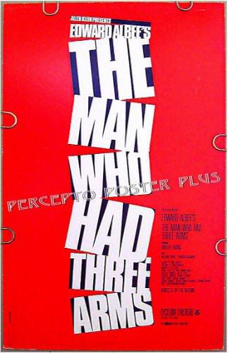 MAN WHO HAD THREE ARMS ~ RARE '83 BROADWAY FLOP THEATRE POSTER ~ EDWARD ALBEE / ROBERT DRIVAS