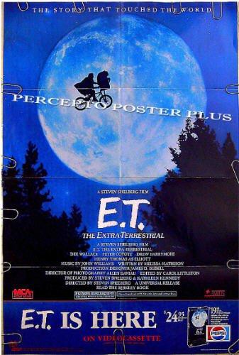 E.T. The Extra Terrestrial ~ '88 Orig Bike & Moon Movie Poster / ET ~ STEVEN SPIELBERG